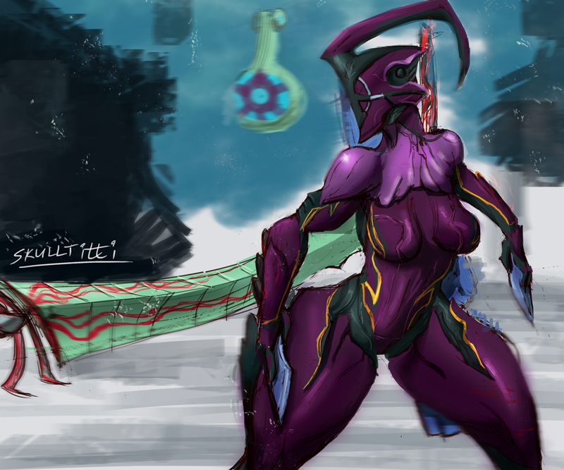 warframe excalibur account prime with Darling in the franxx zero two feet
